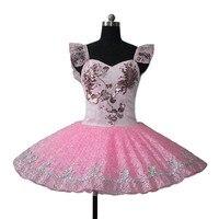 Розовый белый производительность балетное платье пачка