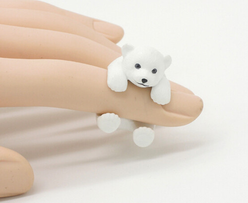 Cute mini resin polar bear figure ring,styling decoration,white bear animal fans collection article Christmas birthday gift toy cute resin dolls toy desktop decoration