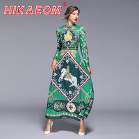 Spring Summer Women Dress Sale Casual Green Printed Retro Position Long Sleeve A Line Summer Womens Tunic Party Dress Promotion