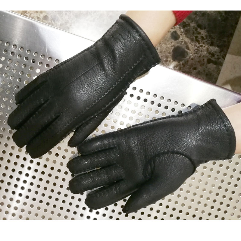 Deerskin gloves women 39 s thin wool lining hand stitched autumn warm outdoor travel black ladies driving leather gloves in Women 39 s Gloves from Apparel Accessories