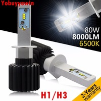 New H1 LED Headlight Bulbs 80W 8000LM 6500K Cool White Lumileds LUXEON ZES Led FOR HELLA RALLYE 4000 SPOT DRIVING LIGHTS 4WD