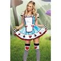 Новейшие Блесток Отделкой и Драгоценностями Сердце Кнопки Алиса Хеллоуин Костюм Алиса В Стране Чудес Косплей Необычные Платья для Женщин L15101