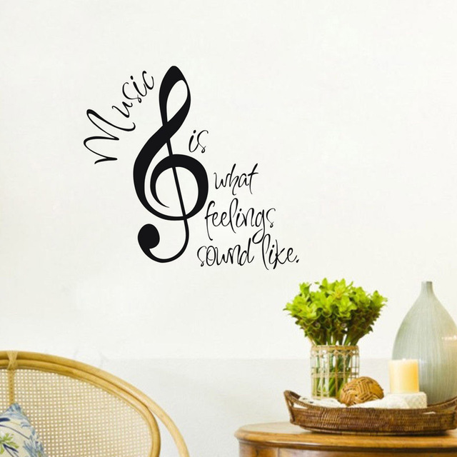 Music Wall Stickers Home Decor Music Is What Feelings Sound Like Quotes Vinyl Wall Art