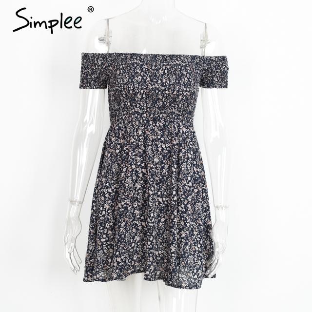 Simplee Off shoulder floral summer dress Vintage high waist beach dress women 2017 Sexy short dresses vestidos