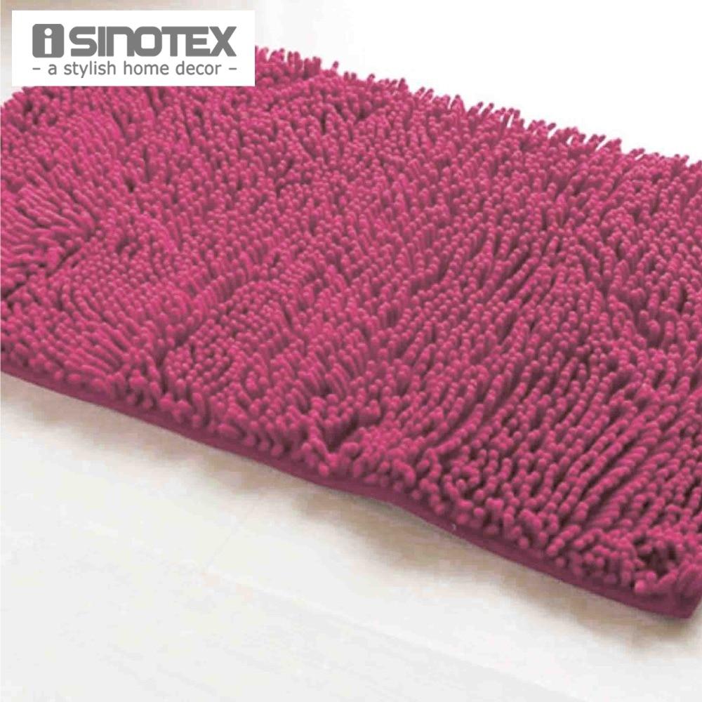 Red Bath Mat Soft Shaggy Mat Chenille Mat Area Rug Bathroom Floor Carpet Anti Slip