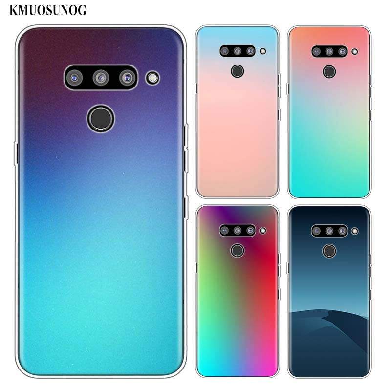 Silicone Soft Phone Case Gradient Color for LG K50 K40 Q8 Q7 Q6 V50 V40 V30 V20 G8 G7 G6 G5 ThinQ Mini Cover