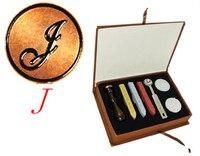 Vintage 1 Letter J Retro Alphabet Initial Wax Seal Stamp Kit Set Wedding Label