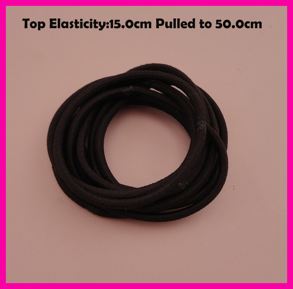 50PCS 3mm Top Elasticity Coffee Seamless Elastic Ponytail Holders Hair Bands,Dark Brown Elastic Hair Ties,circle length 15.0cm