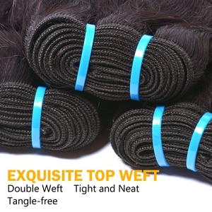 Image 5 - Extensiones con ondas al agua de 30 pulgadas mechones de cabello humano postizo Natural brasileño, 1B, cabello no Remy, 1 /4 / 3 mechones