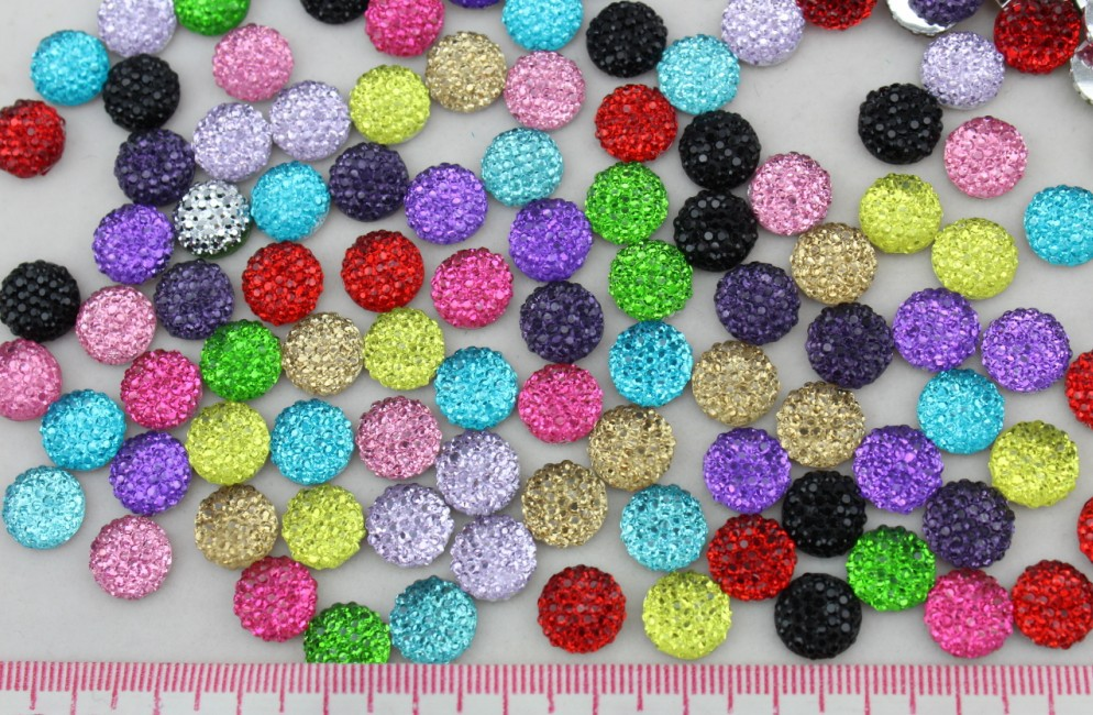 200pcs 10mm cabochons Assorted Bling Round Rhinestones/Gems flat back embellishment resin cab mixed color dotted crystal