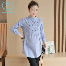 6530# Waist Pleated Embroidery Cotton Maternity Shirt Spring