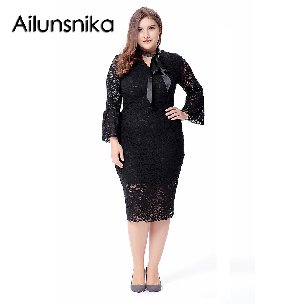 e42c047aad3 Ailunsnika 2018 Women Elegant Lace Dress Autumn Long Flare Sleeve Midi  Dress Formal Plus Size Bodycon Dresses Vestidos SQ0081-in Dresses from  Women s ...