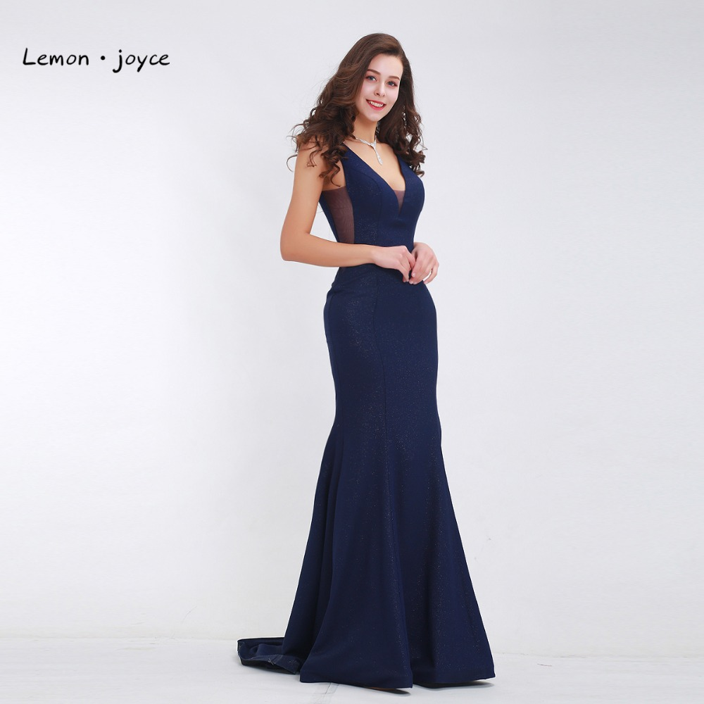 Dark Blue Elegant Prom Dresses Long 2019 Deep V Neck Sexy Backless Simple Party Gowns Mermaid