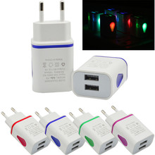 LED USB 2 Port Wall Home Travel AC Charger Adapter For S7 EU