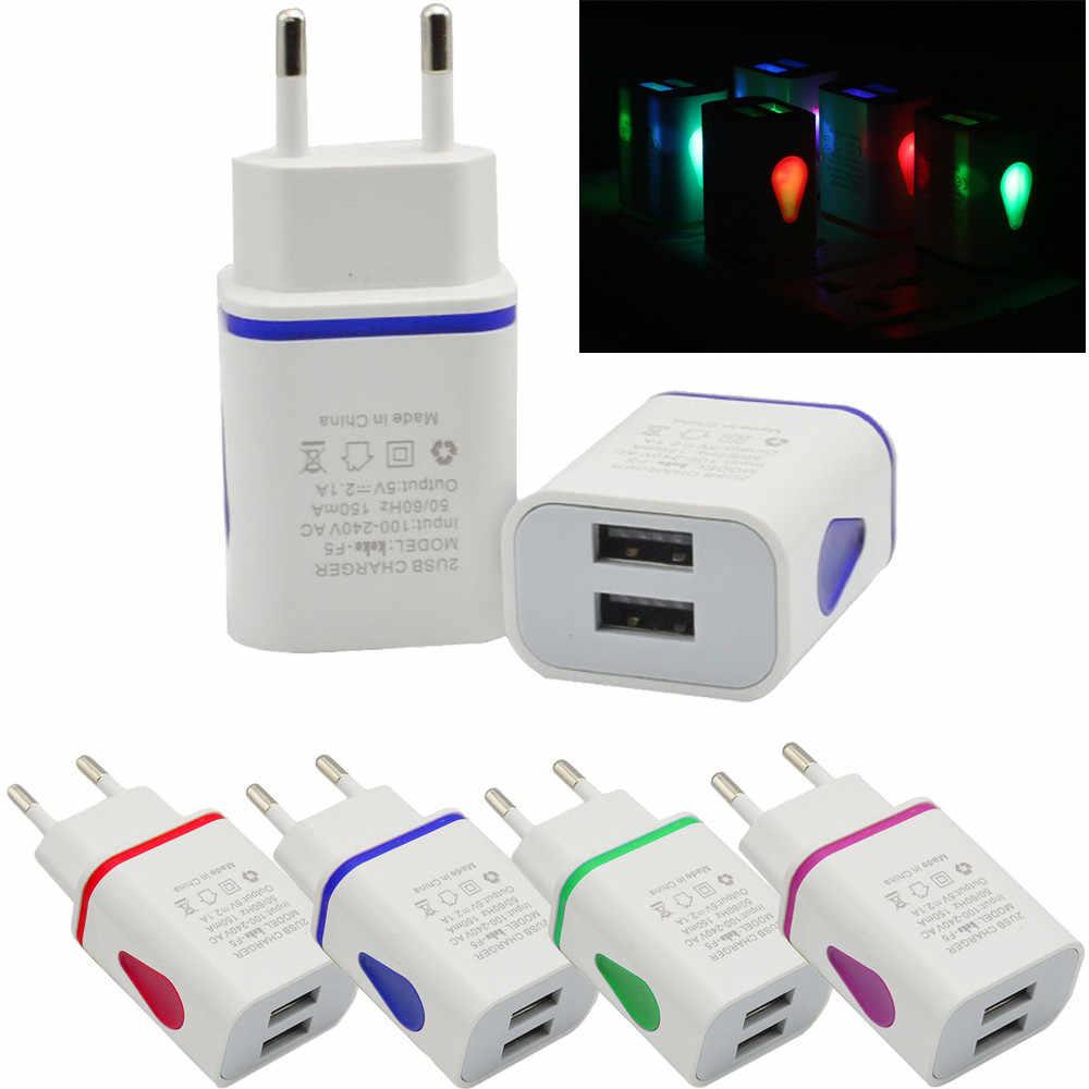 LED USB 2 puertos pared hogar viaje AC cargador adaptador para S7 UE enchufe 5V 2A para cargar teléfonos celulares cámaras reproductores MP3