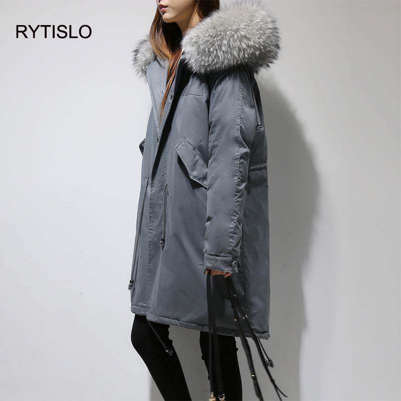 RYTISLO 2017 Winter Women Jacket Slim Thick Parkas Coats Large Fur Collar Long Warm Fur Hooded Paraks Snow Outwear Thick Warm 2017 women jackets and coats solid slim large fur collar hooded short parkas thick jacket winter women warm coat overcoat sy003