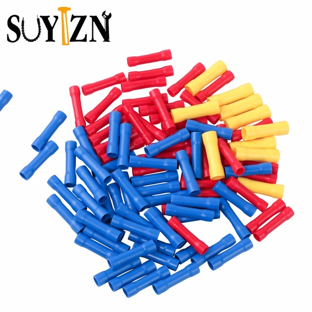 100Pc Crimp Terminals Insulated Electrical Wire Connector PVC Brass ...