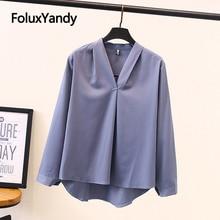 New Chiffon Blouses Women Plus Size Shirts Spring Summer V-neck Long Sleeve Elegant Blouse 4 Colors SWM1314