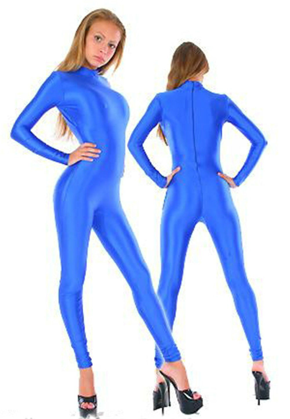 Women Long Sleeve Catsuits Full Body Blue Color Lycra Spandex Party Costume Zentai Suit XS-XXXL Stretch Dancewear