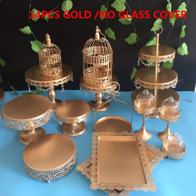 Gold Wedding Dessert Tray Cake Stand Cupcake Pan cake display table decoration Party Supply 14