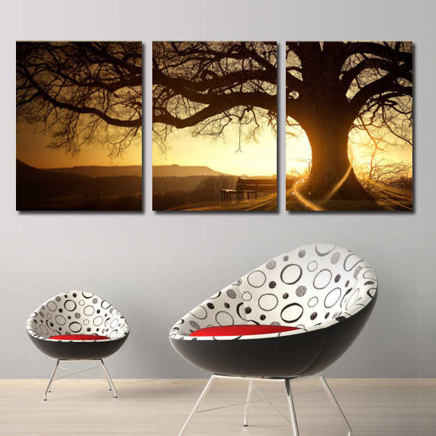 3 Pieces Abstract Art Group Pictures Sun Trees Canvas Poster Home Decor Wall Pictures for Living Room Canvas Painting Framed