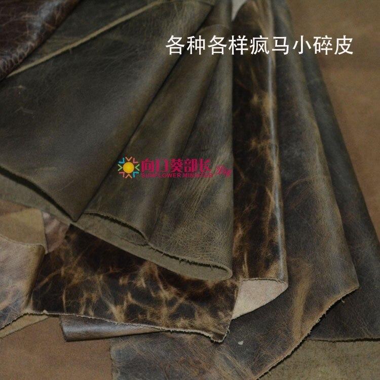 Livraison gratuite fait main bricolage en cuir tissu en cuir matériel tête couche peau de vache cheval fou petite peau cassée 1 KG couleur aléatoire