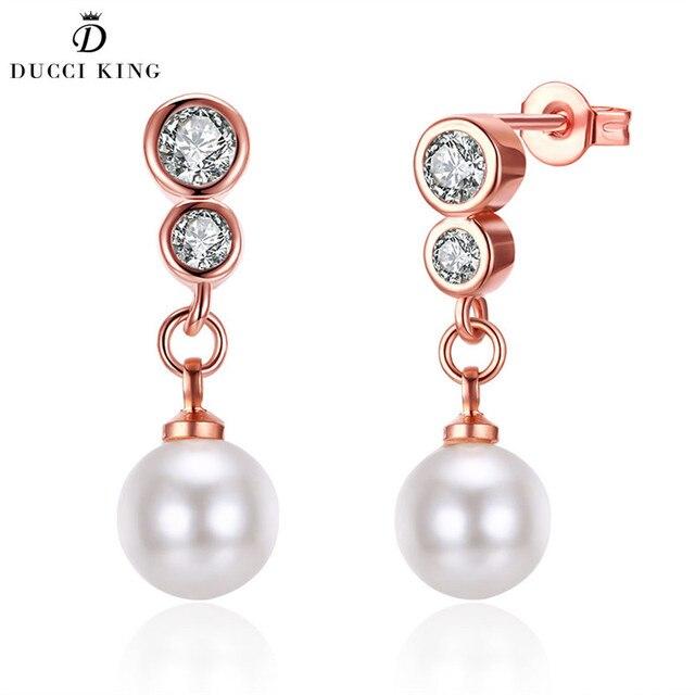 Fashion Elegant Cubic Zirconia Imitation White Pearl Earring Rose