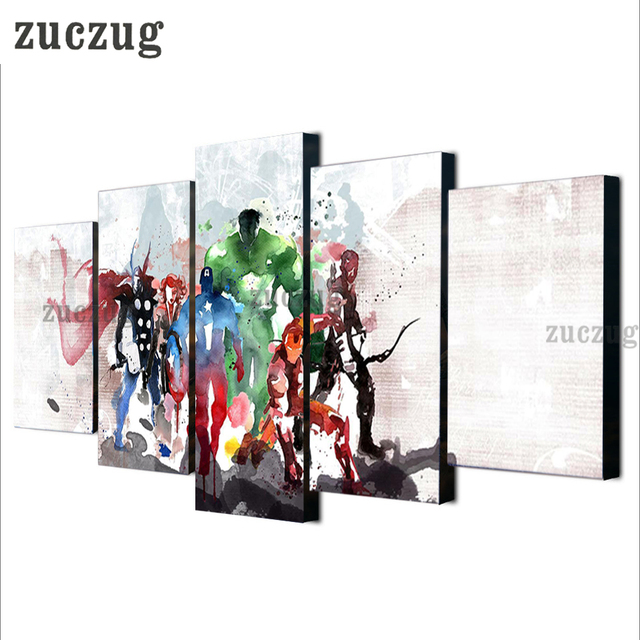 Framed 5 Pieces Modern Print the Avengers Watercolor Painting Canvas ...