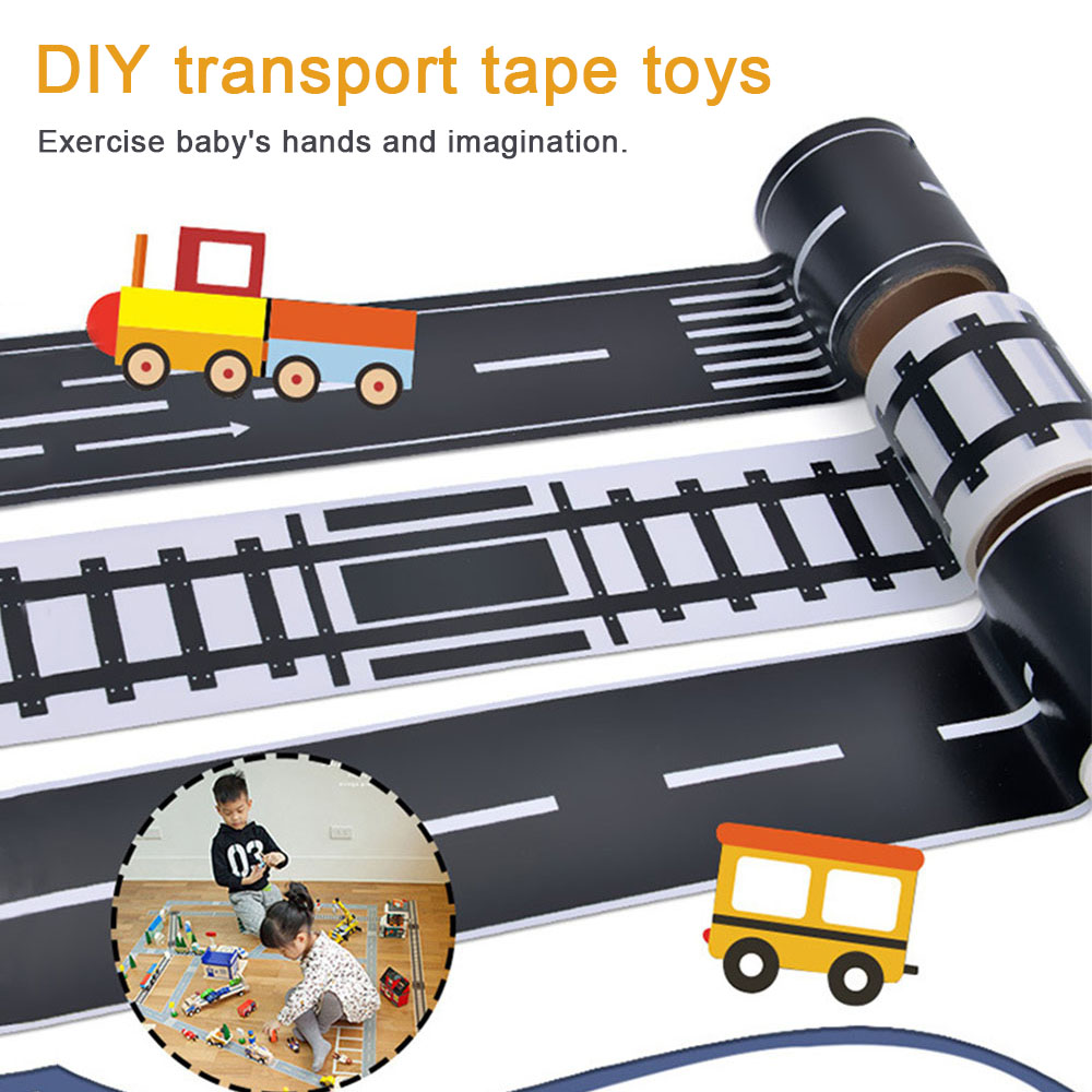 DIY Simulation Highway Railway Tape Puzzle Diy Sticker Toys for children Simulation Scene Educational Toy