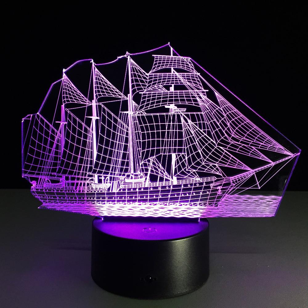 Luzes da Noite barco de vela-3d optical illusion Item : Sail Boat 3d Lamp
