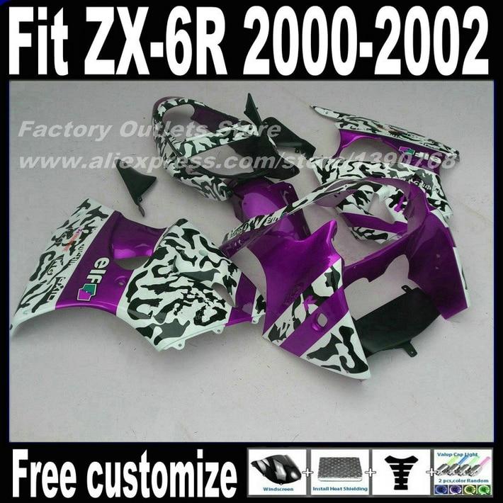 HOT SALE! Fairings for Kawasaki ZX6R 2000 2001 2002 Ninja 636 ZX-6R 00 01 02 black white purple fairing body kit KL31 compression mold bodykit for kawasaki fairing kits zx9r 2000 2001 zx 9r 00 01 ninja customize green purple body parts 7gifts