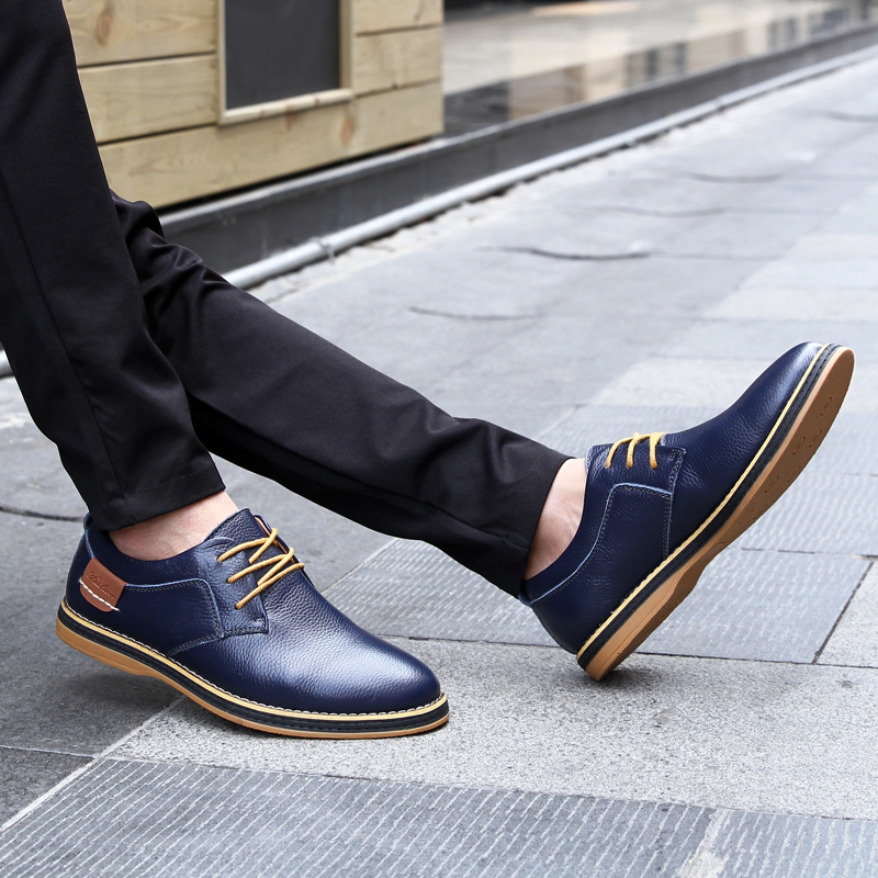 HTB1ZcD3c21H3KVjSZFHq6zKppXak 2019 New Men Oxford Genuine Leather Dress Shoes Brogue Lace Up Flats Male Casual Shoes Footwear Loafers Men Big Size 39-48