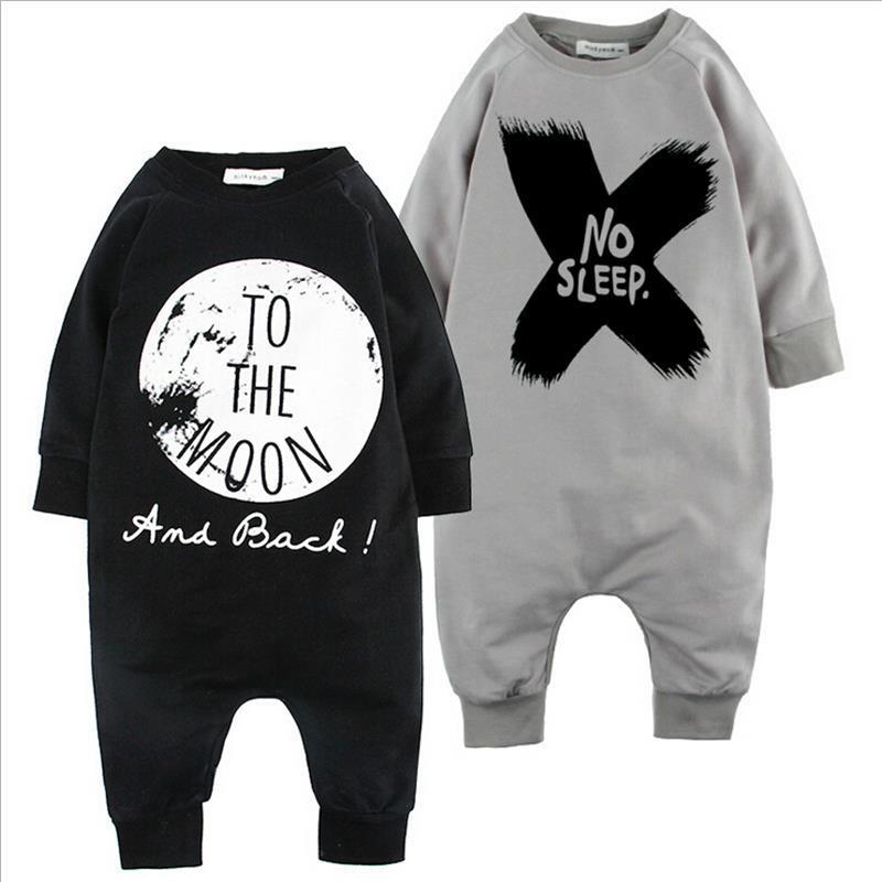 0-2 Years Old Baby Winter Infant Full-Sleeve Romper Cross Letter No Sleep/TO The Moon Print Leisure Long Sleeve Romper KIKIKIDS