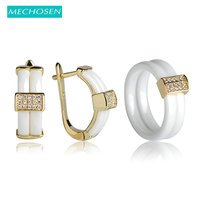 MECHOSEN Ceramic Jewelry Sets Earrings Rings CZ Zircon Rhinestones Aros Copper Aretes White Keramisch Wedding Ensemble