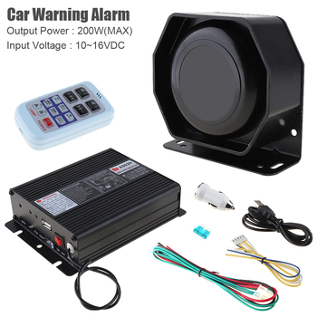 12V 200W 18 Tone Loud Car Siren Horn Car Warning Alarm Police Firetruck Ambulance Loundspeaker with MIC+ Wireless Remote Control