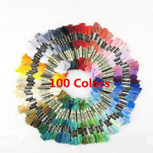 100 pcs Mix Colors Embroidery Foss Cross Stitch Cotton Thread Floss Sewing Tools Skeins Craft Wholesale & Retail