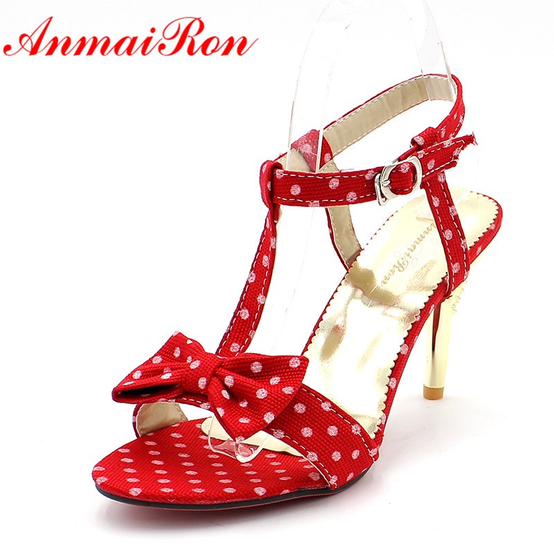 ANMAIRON Big Size 34-47 T-strap Women Sandals Bow Polka Dot High Sandals for Women Black RED Hot Sweet Shoes Women 9cm Sandals anmairon shallow leisure striped sandals women flats shoes new big size34 43 pu free shipping fashion hot sale platform sandals