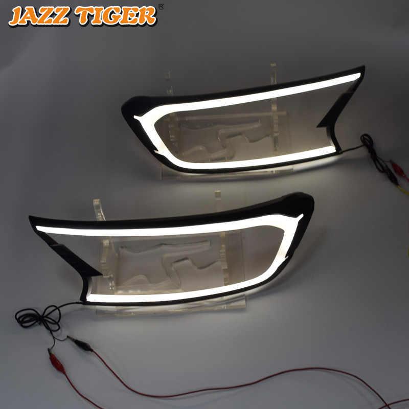Джаз тигр 2 шт фар автомобиля украшения Водонепроницаемый 12 V DRL светодиодные лампы дневного света для Ford Ranger T7 2015-2018