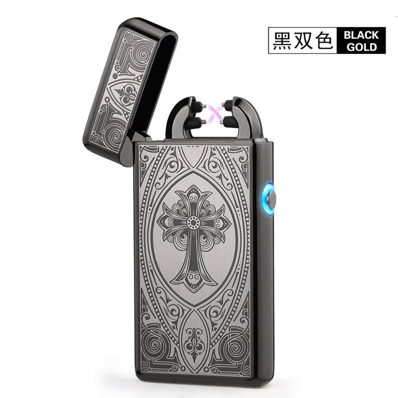 Edle Dünne 11mm LED Smoke Kreuz Doppel Arc Zigarettenanzünder USB Puls Zigarre Feuerzeuge Männer zigarettenanzünder Mit Box Gift-8014