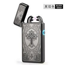 Noble Thin 11mm LED Smoke Cross Double Arc Lighter USB Pulse Cigar Lighters Men Cigarette lighter Box Gift-8014