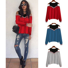S-XL women o neck off shoulder tops blouse womens long sleeve tops autumn spring tshirt blouse fashion women s ladies long sleeve off shoulder shirt ruffle loose casual blouse summer tops