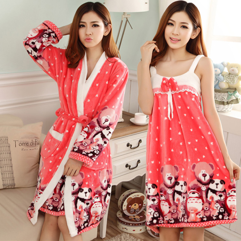 new winter pajamas flannel night gown spa bathrobe and dress bath robe women long sleeve warm - Flannel Nightgowns