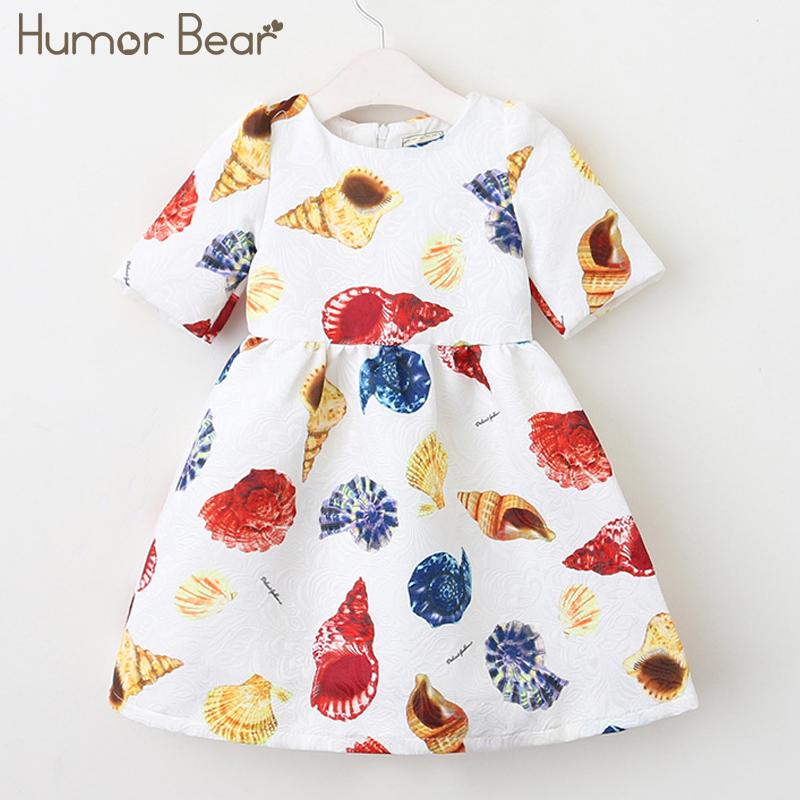 Humor Bear Princess Dresses Girls Dress 2018 Fashion Print Style Toddler Girl Dress Kids Clothing Short Sleeve Baby Dress lovely toddler kids baby girl summer dress bunny ear short sleeve hooded outfit one pieces princess children dresses sundress