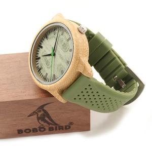 Image 4 - BOBO VOGEL Bambus Männer Uhr Casual Frauen Quarz Uhr Silikon Band reloj mujer marca famosa