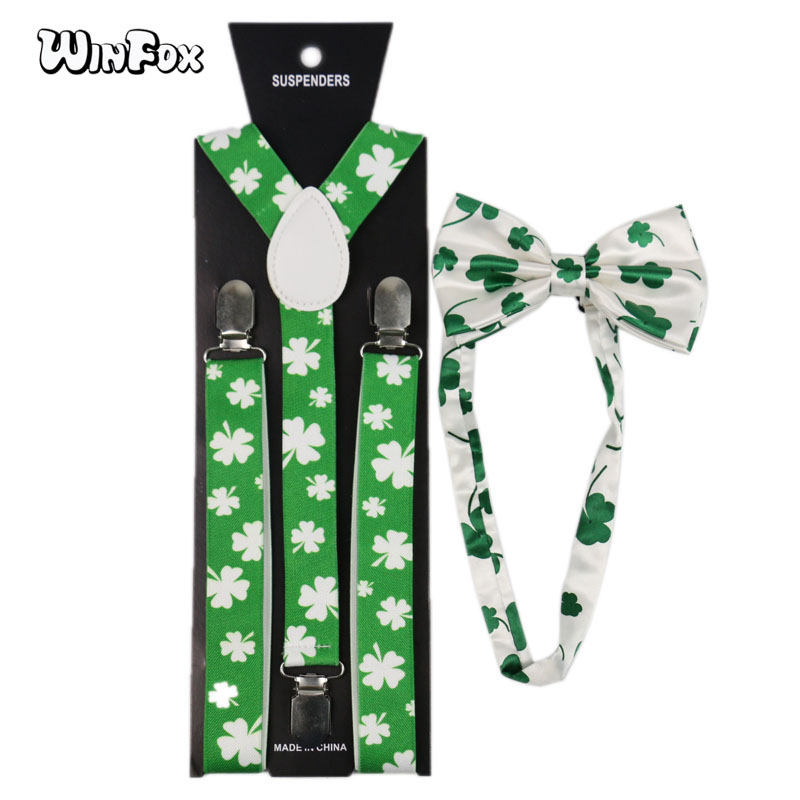 Winfox Fashion 2.5cm Wide Green White Big Leaf Clover Man's Suspenders Bowtie Set Women Men Suspenders Braces Bow Tie