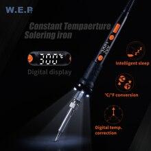 WEP 928D-II паяльника 3 светодиодные лампы цифровой Температура коррекции СВЕТОДИОДНЫЙ цифровой Дисплей защиты сна Регулируемый Температура