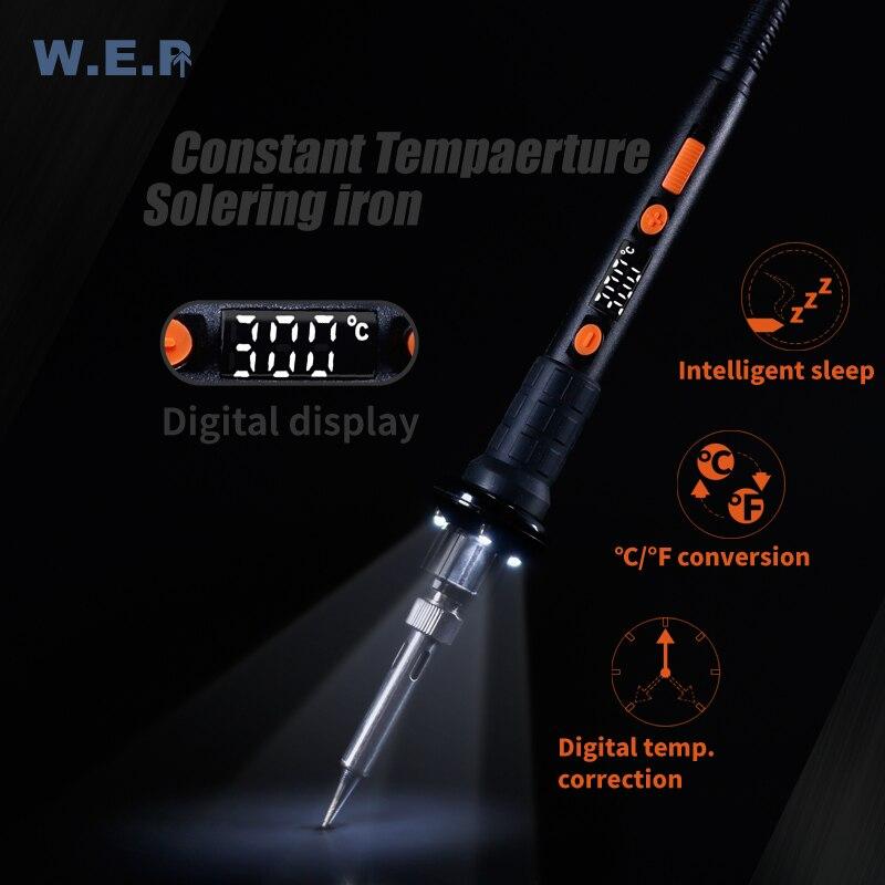 WEP 928D-II Soldering Iron 3 LED Lamp Digital Temperature Correction LED Digital Display Sleep Protection Adjustable Temperature