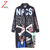 2016 Spring Women S Novelty Laple Straight Long Blouse With Cartoon Print