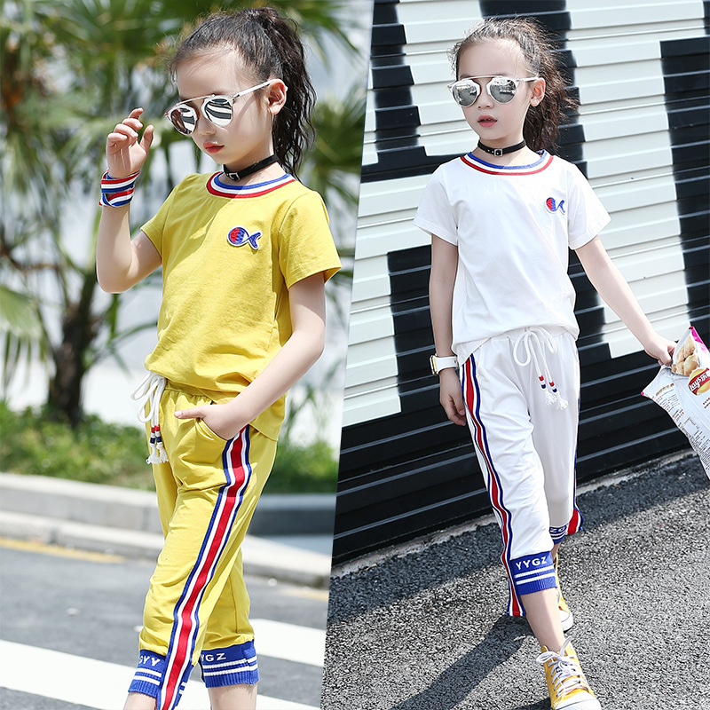 2017 Summer New Style Kids Girls Casual Striped Cartoon Goldfish Pattern O-Neck Short T-shit+Pants Girls Clothing Sets Age 3-14Y summer new multiple colors children s tees cartoon pattern cotton fabric short sleeves kids o neck kids boys t shirt age 2 6