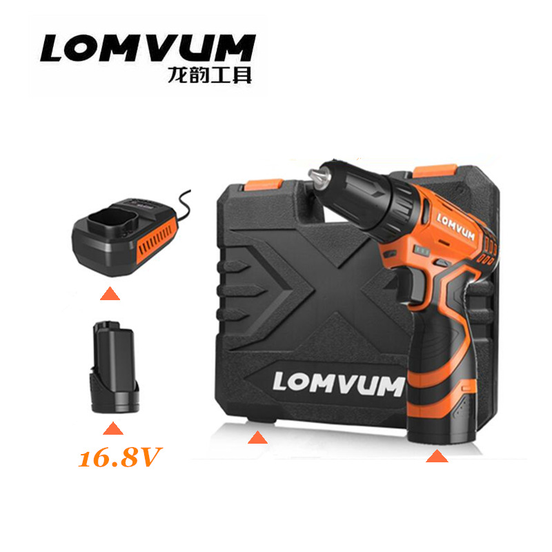 16 8V Upgrade style magnetic drill Lithium battery 2 cordless electric screwdriver electric drill with suitcase